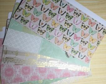 Mini File Folder Gold Embelished Butterflies Music Notes Flowers Etc 0407164