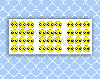 Kawaii Smiley Face Planner Stickers