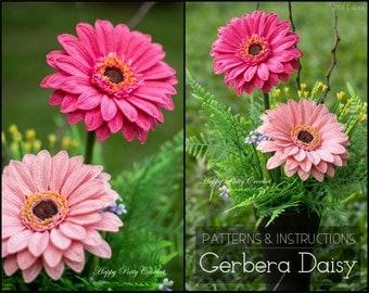 Crochet Flower PATTERN - Crochet Gerbera Daisy Flower Pattern - Crochet Pattern for Decor - Crochet Daisy Flower Pattern - Gerber Flower