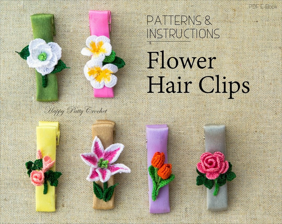 Crochet Hair Clips Pattern Collection by HappyPattyCrochet
