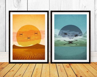 Force Awakens Abstract Print Set - Tie Fighters on Jakku and X Wings on Takodana - Star Wars Episode VII Minimalist Art Poster Print