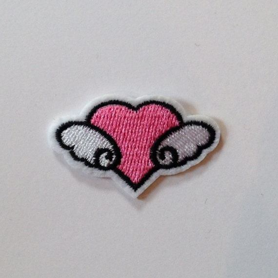 Pink Winged Heart Iron on Patch
