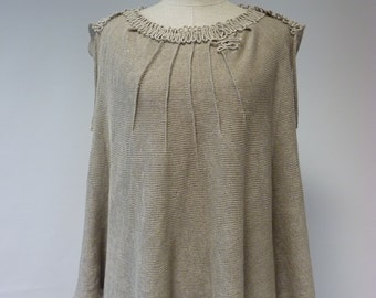 Sale, new price 44 Euro, original price 56 Euro. Artsy transparent natural linen top, M size.