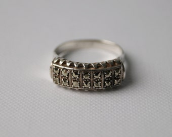 Vintage Sterling Silver Marcasite Ring - Chunky Silver Ring - Vintage Marcasite - Vintage Ring - Chunky Ring - size 5 1/2  K 1/2