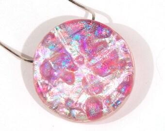 Dichroic Moon Pendant  - Pink Dichroic Pendant, Dichroic Circle Pendant, Round Pink Pendant, Dichroic Necklace, Pink Dichroic Glass Pendant
