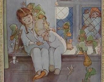 MABEL LUCIE ATTWELL Original Vintage Children's Print 1921 - Santa Claus - Xmas - Little Girls  Nodding Off - Dust Fairies - Girls Print