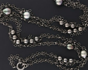 "Gellner ""Tinsel"" Necklace in Black Rhodium Plated Sterling Silver with Tahitian Peals and Silver Beads"