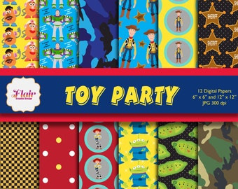TOY PARTY Digital Papers, Toy Story Inspired Pattern Prints, Scrapbooking, Invitation, Kids Party, Toy Theme Party, Woody, Buzz