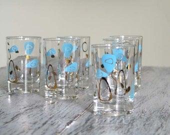 Federal Glass Boomerang Amoeba Juice Glasses