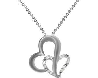 1/10CT Double Heart Pendant in Sterling Silver