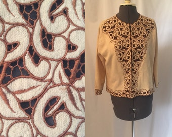 Medium/large ** 1950s EMBROIDERED beige wool sweater cardigan ** vintage fifties lined wool sweater