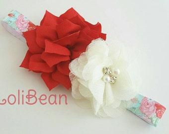 Red & Aqua Floral Print Headband - Newborn Headband - Shabby Chic Headband - Toddler Headband - Newborn Headband - Floral Print Bow