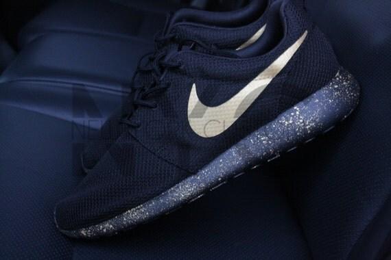 more photos 3cf31 c9f7b ... men dark obsidian blue laser gold free  Nike Roshe One Run Black Gold  Splatter Speckled Custom Women ...