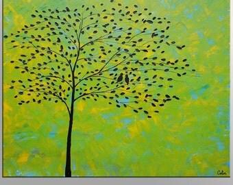 Large Oil Painting Large Painting Oil Painting Love Birds Painting Canvas Art Framed Art Abstract Art Impasto Texture Oil Painting