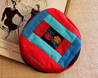 vintage hats red and blue hat  onemanband embroidered Bedouin hat,Hippie Boho Style,hat  Exotic,Gypsy and Bohemian