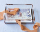 8 x 10 Clear Glass Photo Display Boxes with various depth option - Hinged Top - Jewelry - Collections
