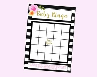 Baby Shower Bingo Game. Instant Digital Download. Black and White, Pink and Orange Floral. The Koryn Shower Line