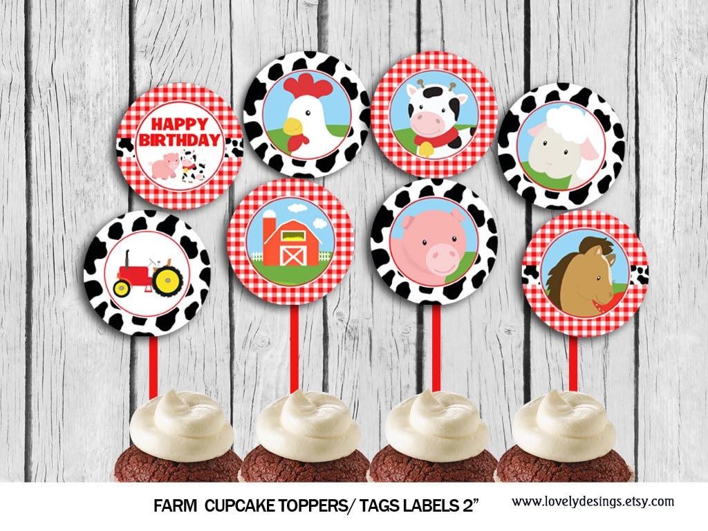 Farm Cupcake Toppers Animlas Party Toppers Farm Market