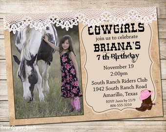 Shabby Chic Cowgirl Invitation Cowgirl Birthday Invitation Western Cowgirl Invitation Cowgirl Birthday Party Invite Girls Western Invitation