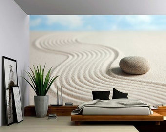 Zen Stone - Large Wall Mural, Self-adhesive Vinyl Wallpaper, Peel & Stick fabric wall decal
