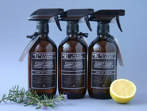 Amber glass spray bottles. DIY cleaning set with black