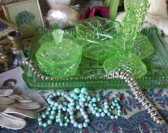 Vintage 1930's Green Glass Dressing Table Set 6 Pieces
