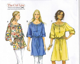 Easy Top Tunic Dress Neckband Drawstring Waist Rolled Up Sleeves Butterick 5612 Sewing Pattern L XL XXL 16 18 20 22 24 26