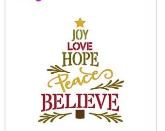 Joy Love Hope Peace Believe Tree Stencil