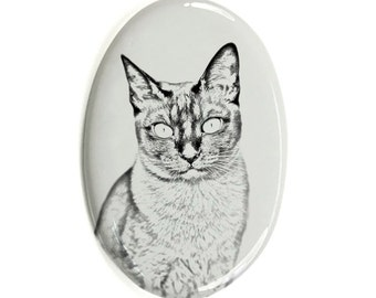 Tonkinese cat- Gravestone oval ceramic tile with an image of a cat.