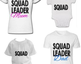 Squad family set Squad Leader Mum, Dad kids t-shirts baby vest onesie