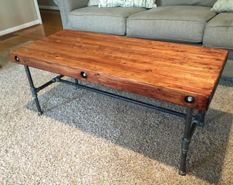 Rustic Industrial Coffee Table   Iron And Wood