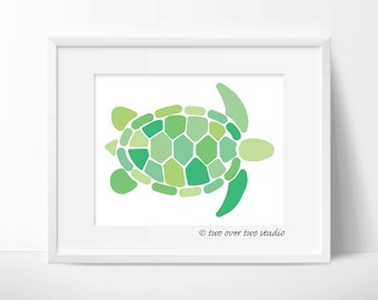Turtle Print / Green Turtle / Turtle Digital Print / Turtle Printable / Sea Turtle Art / Turtle Wall Decor / Turtle Art / Instant Download
