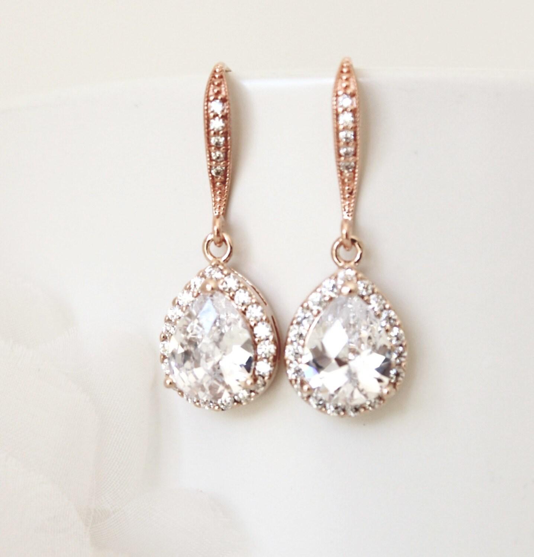 Wedding Jewellery Gift Sets : Set Rose Gold Wedding Jewelry Set Bridesmaid Jewelry Bridesmaid Gift ...