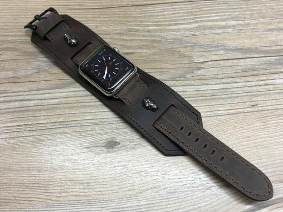 Apple Watch Band | Apple Watch Strap | Vintage Leather Cuff Watch Band | Vintage Brown Leather Cuff Watch Strap For Apple Watch 42mm