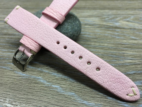 Real Leather watch Strap | Leather watch band | vintage look Rolex Strap (pink colour, cream white Stitching) - 18mm/19mm/20mm watch strap