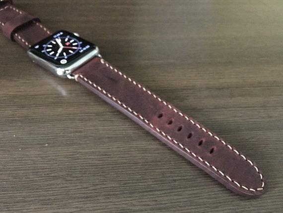 Apple Watch Band | Apple Watch Strap | Vintage Leather Watch Band | Red Leather Watch Strap For Apple Watch 38mm & Apple Watch 42mm