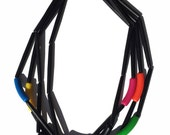 Black And Neon Vintage Memphis Inspired Necklace 80's 90's