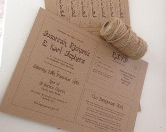 DIY Rustic/Vintage Personalised recycled kraft brown wedding invitation pack- FREE UK Postage