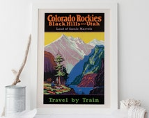 COLORADO ROCKIES Poster USA Travel Poster 1920's National Park Poster Rocky Mountains Poster Utah Poster Frame-Ready Ikea Ribba Size