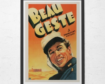 VINTAGE MOVIE POSTER -  Beau Geste Movie Poster - Gary Cooper Poster, Ray Milland Poster, Retro  Movie Poster, Classic Movie Poster