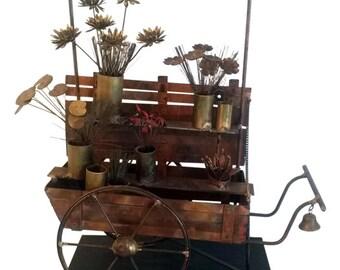 Curtis Jere Vintage Metal Flower Cart Sculpture