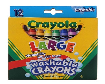 1 x Pack of 12 Crayola Washable Crayons Different Colours Large Size