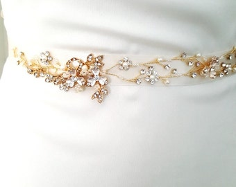 Gold Bridal Crystal Sash. Rose Gold Rhinestone Pearl Applique Wedding Belt. Vintage Gold Belt-Style 780