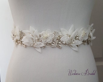 Wedding belt,Wedding sash,Crystal rhinestone belt, Flower Bridal belt