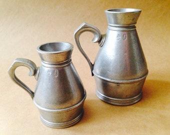 Set of Two Pewter Irish Haystack Measures