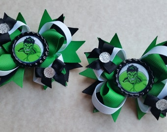 Hulk bows. Set of 2. Perfect for piggy tails :)