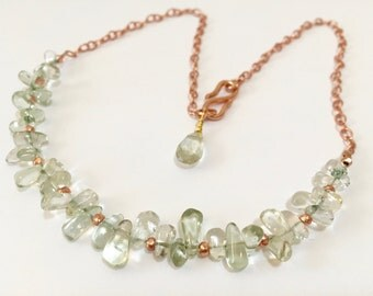Prasiolite Necklace, Rose Gold plated, February birthstone, Green Amethyst Necklace, Mother of the bride Necklace, gift for her, Wedding
