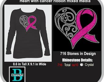 Heart with cancer ribbon mixed media Rhinestone Digital Download