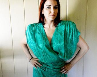 Small - Vintage Liancarlo Green Silk Dress