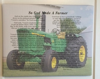 Christmas gift  - Custom Photo So God Made A Farmer by Paul Harvey Canvas or Wood Sign - Christmas, Father's Day Gift, FFA, Birthday Gift